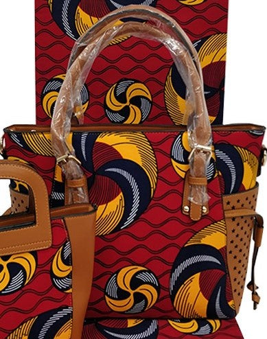 Ankara Cotton fabric synthetic leather handle hand bag pocketbook