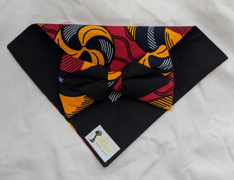 Red Gold Black 6 African Ankara cotton fabric pretied clip on bowtie with handkerchief.