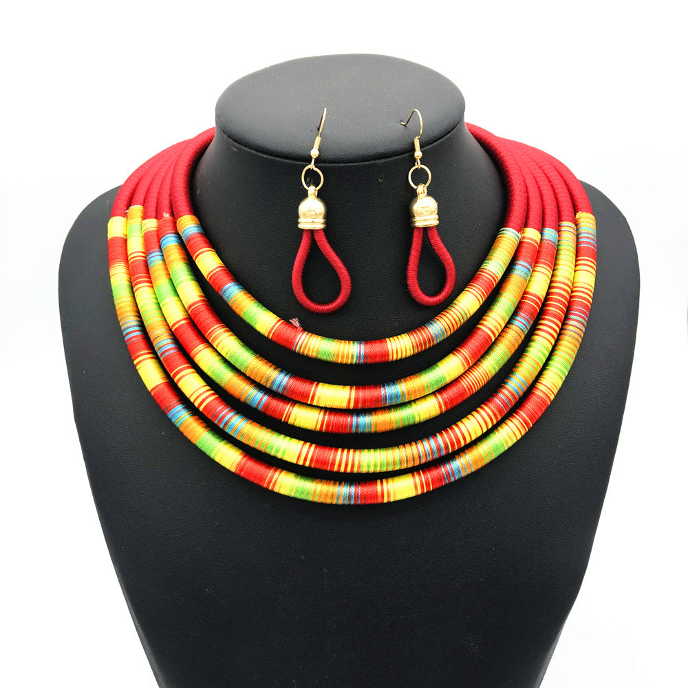 Red multilayer colorful fabric choker jewelry set