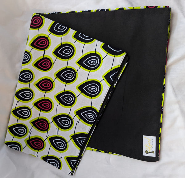 Colorful Ankara cotton fabric reversible shawl. Can create your own head tie matching face mask wallet. tear drops peacock pink white lime green black