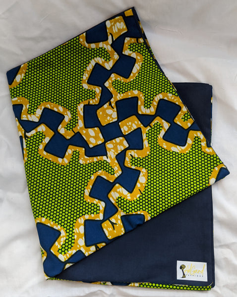 Colorful Ankara cotton fabric reversible shawl. Can create your own head tie matching face mask hand bag pocketbook lime green blue gold white