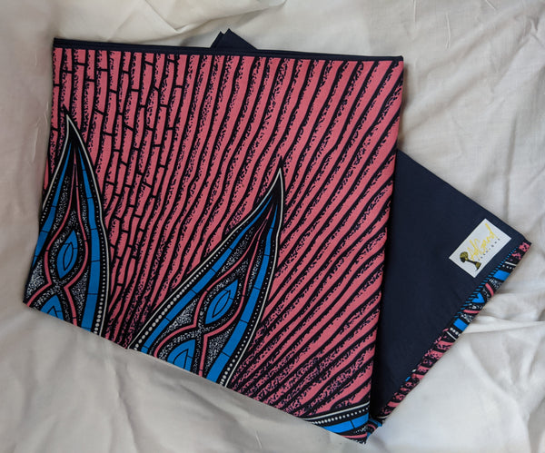 Colorful Ankara cotton fabric reversible shawl. Can create your own head tie matching face mask hand bag attached wallet pocketbook pink blue black white