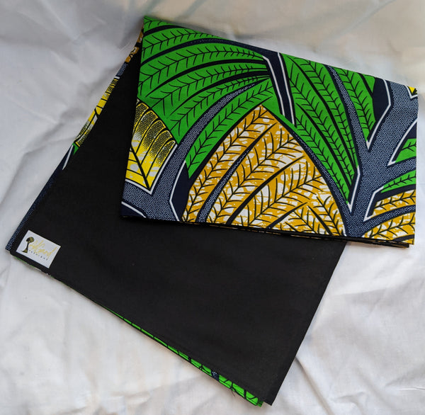 Colorful Ankara cotton fabric reversible shawl. Can create your own head tie matching face mask tropical green gold yellow black blue