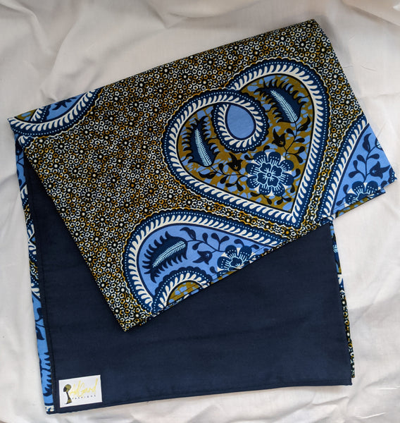 Colorful Ankara cotton fabric reversible shawl. Can create your own head tie matching face mask blue olive green white