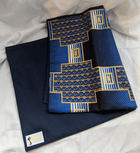 Colorful Ankara cotton fabric reversible shawl. Can create your own head tie matching face mask. blue gold black white