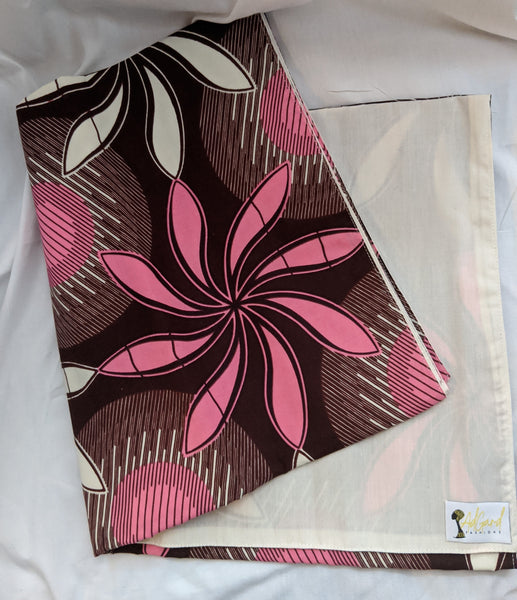 Colorful Ankara cotton fabric reversible shawl. Can create your own head tie matching face mask. pink brown white