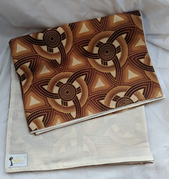 Colorful Ankara cotton fabric reversible shawl. Can create your own head tie matching face mask. brown tan cream gold