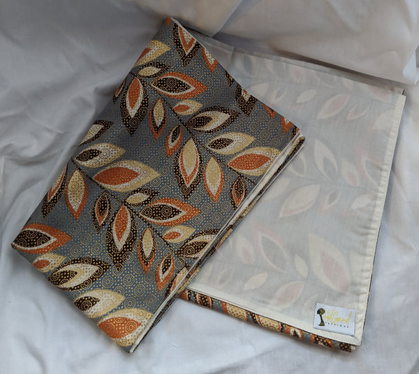 Colorful Ankara cotton fabric reversible shawl. Can create your own head tie matching face mask. gray peach brown white gold