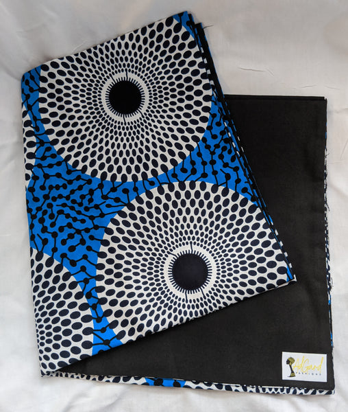 Colorful Ankara cotton fabric reversible shawl. Can create your own head tie matching face mask, hand bag, pocketbook. blue black white