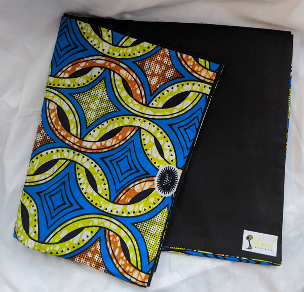 Colorful Ankara cotton fabric reversible shawl. Can create your own head tie matching face mask. blue lime green orange black white