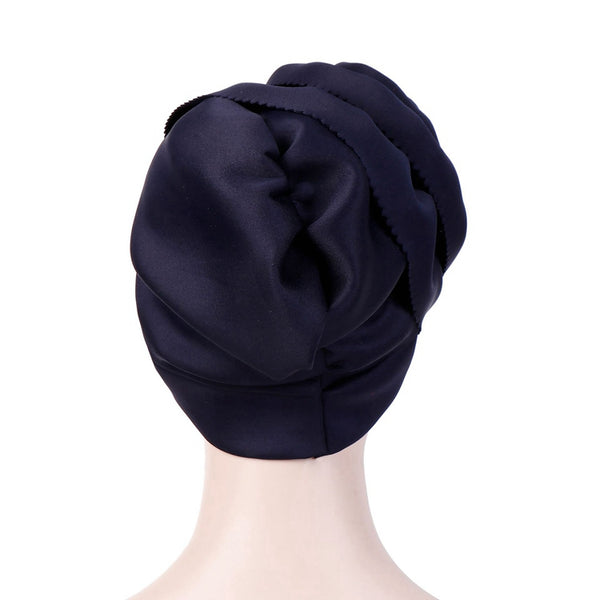 Polyester stretcable small pearls stylish one size fits adjustable hat cap back navy blue