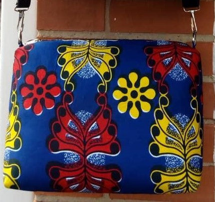 Colorful casual hand bag cotton material with synthetic Leather strap red yellow blue black white