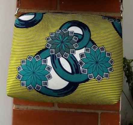 Colorful casual hand bag cotton material with synthetic Leather strap lime white blue turquoise