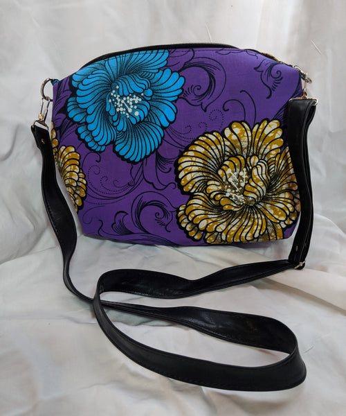 Colorful casual hand bag cotton material with synthetic Leather strap purple sky blue black