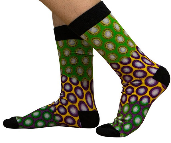 Unisex male female colorful cotton lycra good quality fabric green yellow white purple black circles design socks