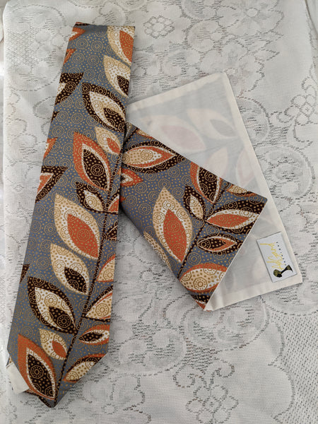 African Ankara cotton fabric necktie with handkerchief. Matching face mask sold separately. gray peach cream brown gold