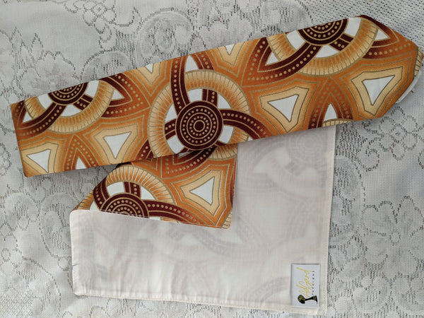 African Ankara cotton fabric necktie with handkerchief. Matching face mask sold separately. Brown gold tan white