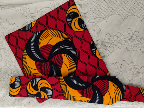 African Ankara cotton fabric necktie with matching handkerchief. red gold white