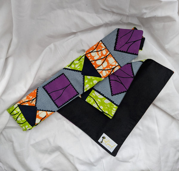 African Ankara cotton fabric necktie with handkerchief. Matching face mask sold separately. purple green orange blue black white