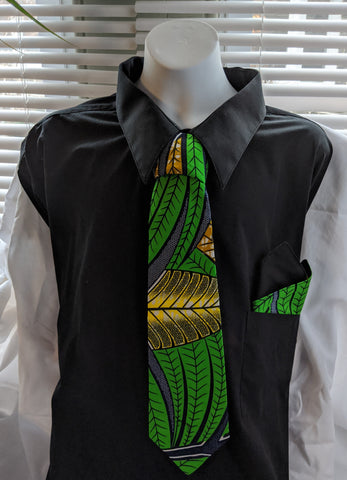 African Ankara cotton fabric necktie with handkerchief. Matching face mask sold separately. tropical green blue gold black white