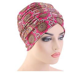 Cotton stretchable material design tube head wrap head tie turban pink tan white