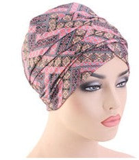 Cotton stretchable material design tube head wrap head tie turban pink