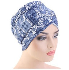 Cotton stretchable material design tube head wrap head tie turban blue white