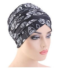 Cotton stretchable material design tube head wrap head tie turban black white African faces