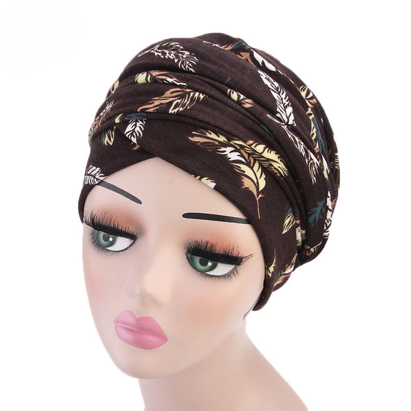 Cotton stretchable material feather design tube head wrap head tie turban brown