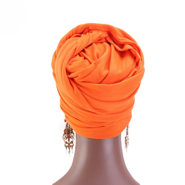 Cotton stretchable material plain color tube head wrap head tie turban back orange