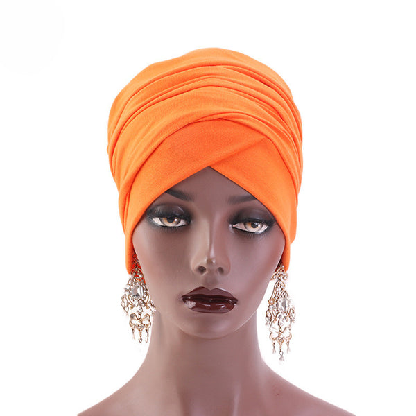 Cotton stretchable material plain color tube head wrap head tie turban orange