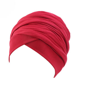 Cotton stretchable material plain color tube head wrap head tie turban red