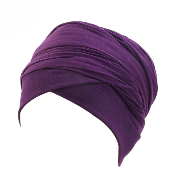 Cotton stretchable material plain color tube head wrap head tie turban purple