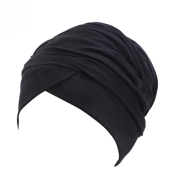 Cotton stretchable material plain color tube head wrap head tie turban black