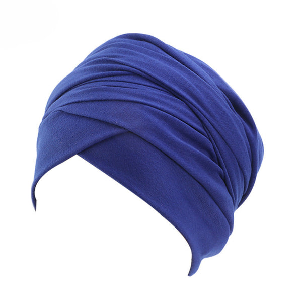 Cotton stretchable material plain color tube head wrap head tie turban blue