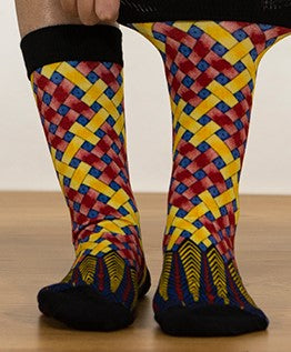 Unisex male female colorful cotton lycra good quality fabric yellow blue red black weave design socks