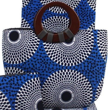 Ankara Cotton fabric with wooden handle hand bag pocketbook with matching face mask, head tie, head wrap and shawl sold separately blue black white
