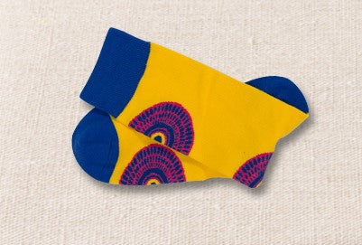 Unisex male female colorful cotton lycra good quality fabric blue yellow circles design socks