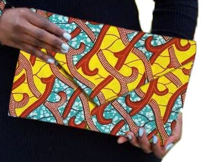 Yellow Red blue African Print Ankara cotton Fabric material Clutch bag. Matching earrings, bracelet and necklace sold separately.