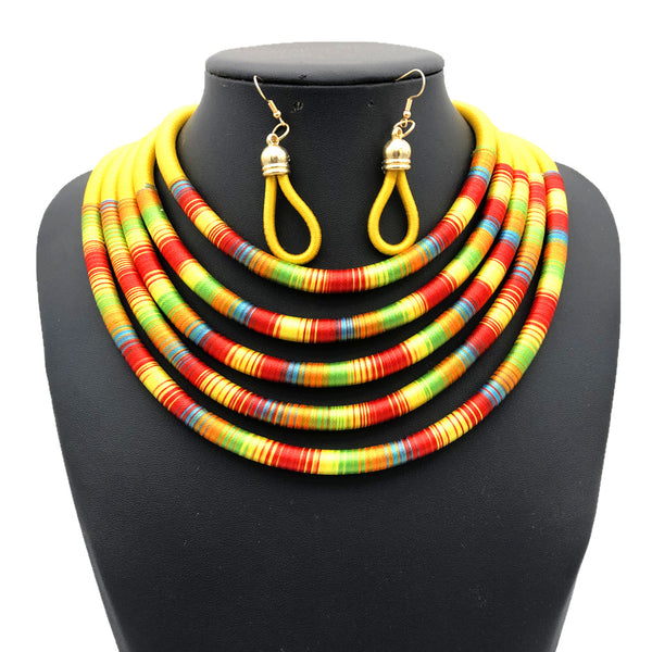 Yellow multilayer colorful fabric choker jewelry set