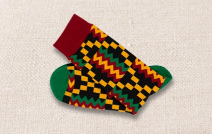 Unisex male female colorful cotton lycra good quality fabric red green yellow black zigzag design socks