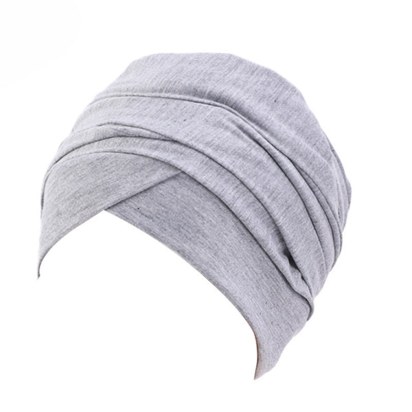 Cotton stretchable material plain color tube head wrap head tie turban gray