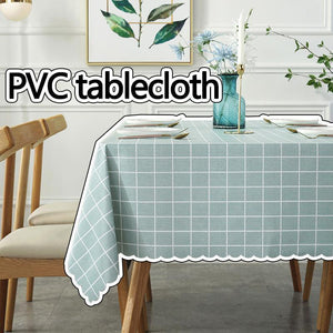 100% Waterproof PVC Table Cloth, Oil-Proof Spill-Proof Vinyl Rectangle Tablecloth, Wipeable Table Cover for Outdoor and Indoor Use