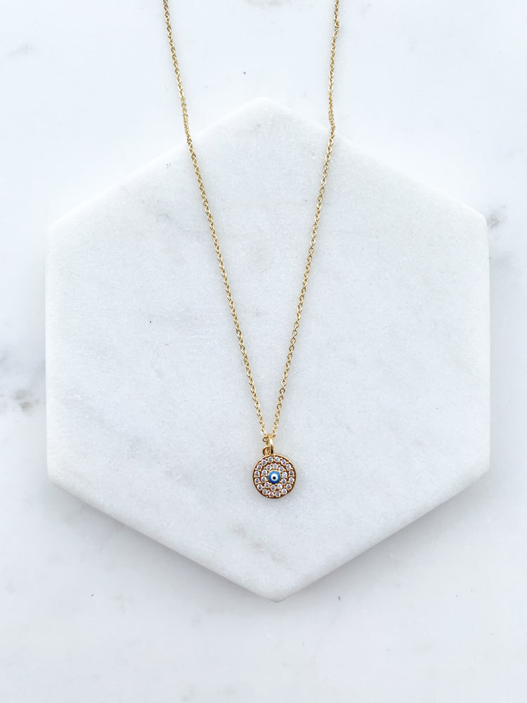 Load image into Gallery viewer, Blue Evil Eye Necklace
