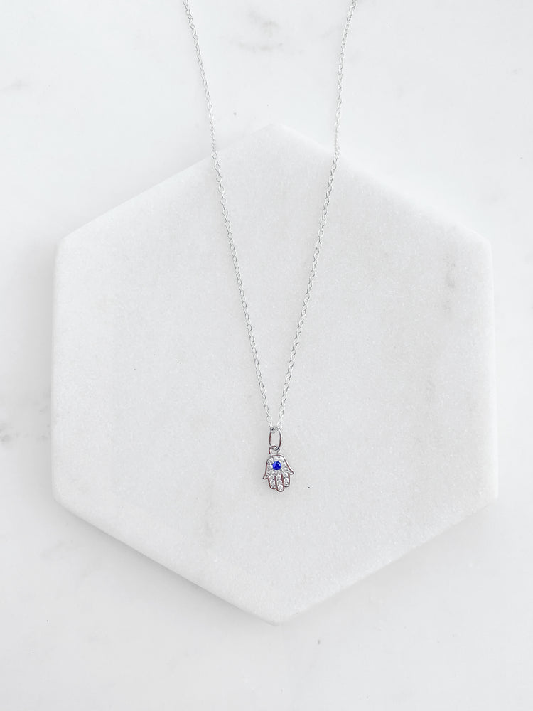 Blue Evil Eye - Hand of Hamsa Necklace
