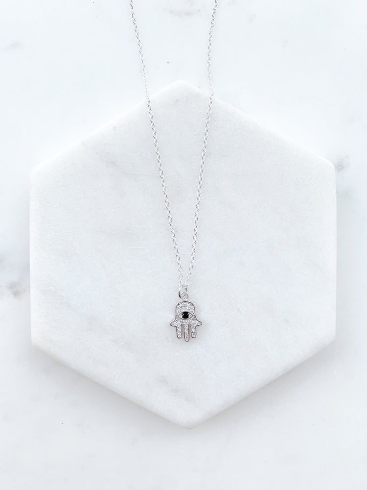 Black Evil Eye - Hand of Hamsa Necklace