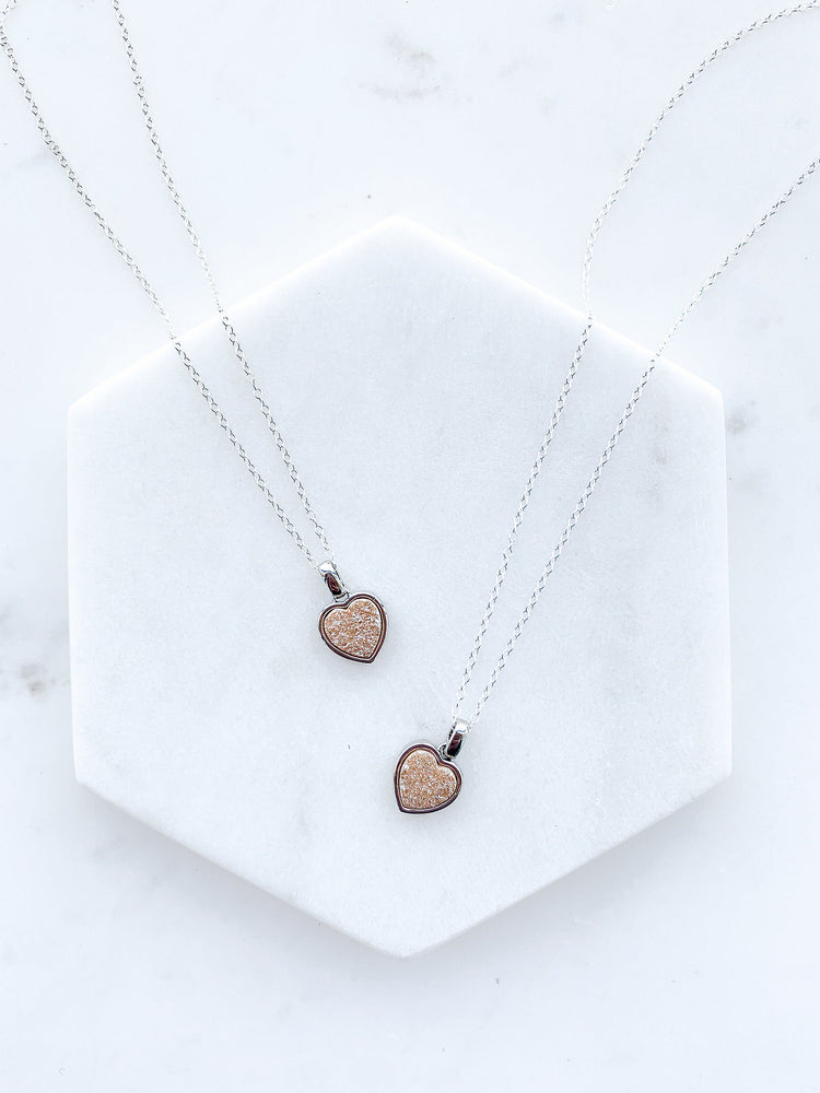 Silver Peach Heart Necklace