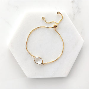 Load image into Gallery viewer, Clear Crystal - 14K Gold Plated Adjustable Bracelet