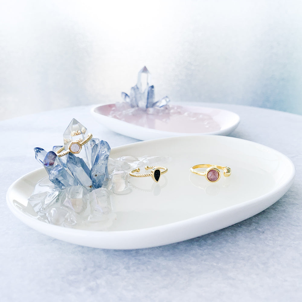 Pale Yellow - Blue Aura Jewelry Dish
