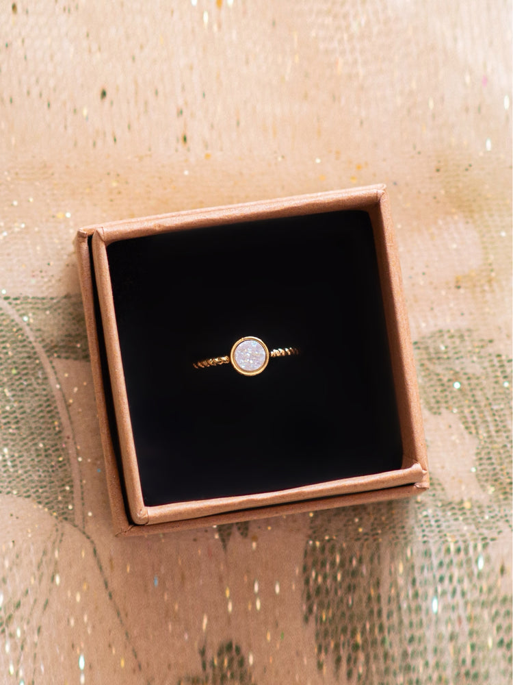 White Round Druzy Agate -  Adjustable Ring